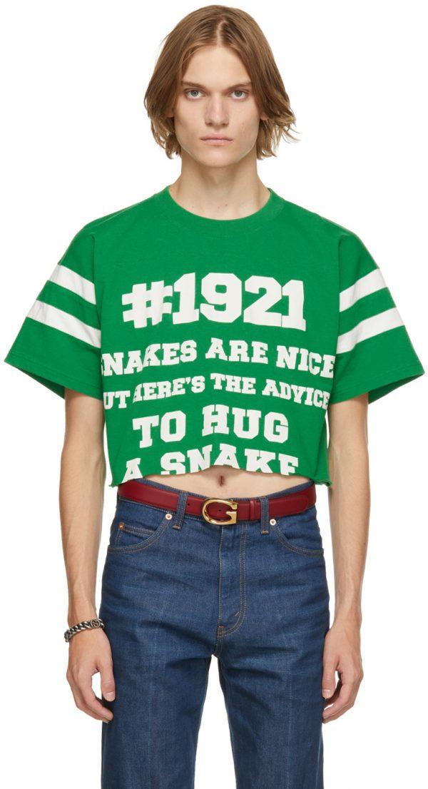 Gucci Green 'Gucci 1921 To Hug A Snake' T-Shirt
