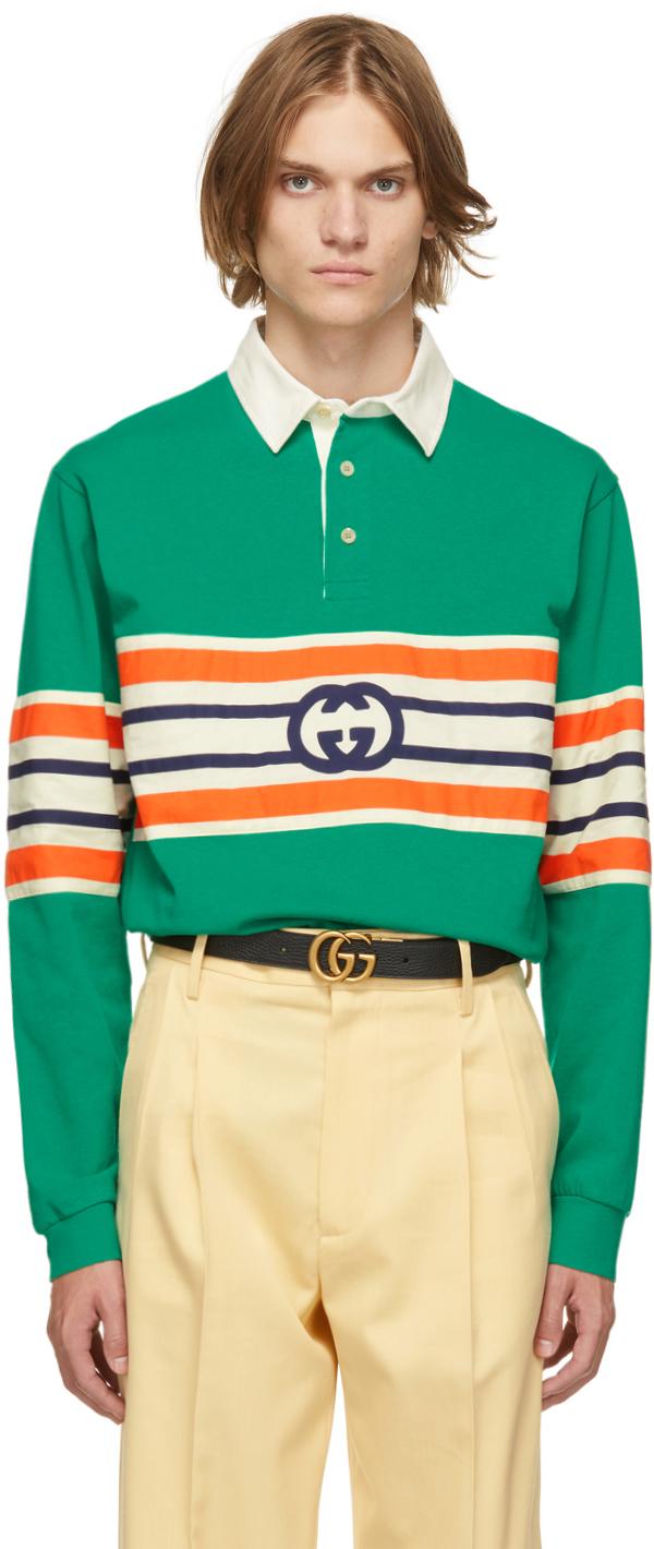 Gucci Green Interlocking G Long Sleeve Polo