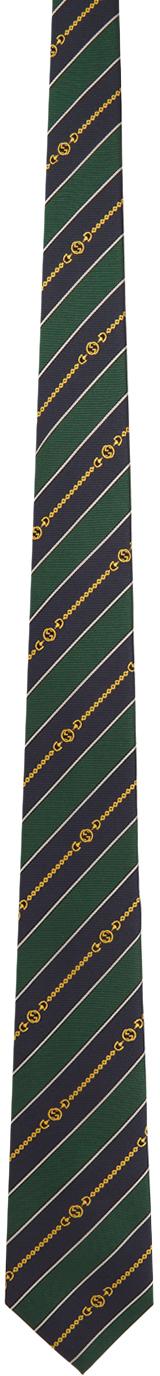 Gucci Green & Navy Silk Interlocking G Chain Tie