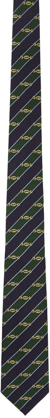 Gucci Green & Navy Silk Interlocking G Horsebit Tie
