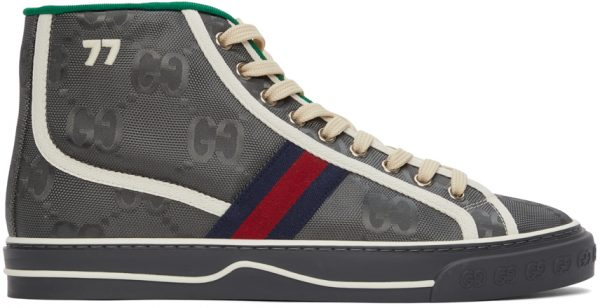 Gucci Grey Off The Grid 'Gucci Tennis 1977' High-Top Sneakers