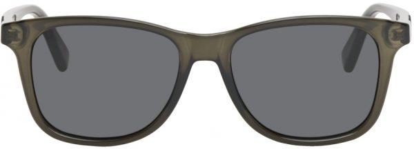Gucci Grey Transparent Acetate Rectangular Sunglasses