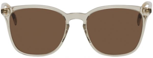 Gucci Grey & Brown Square Cat-Eye Sunglasses