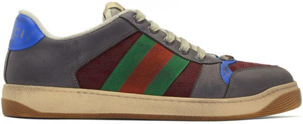 Gucci Grey & Burgundy Screener Sneakers