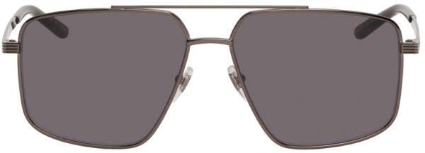 Gucci Gunmetal Modified Aviator Sunglasses