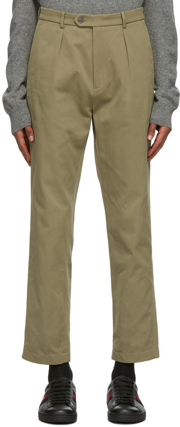 Gucci Khaki Interlocking G Patch Trousers