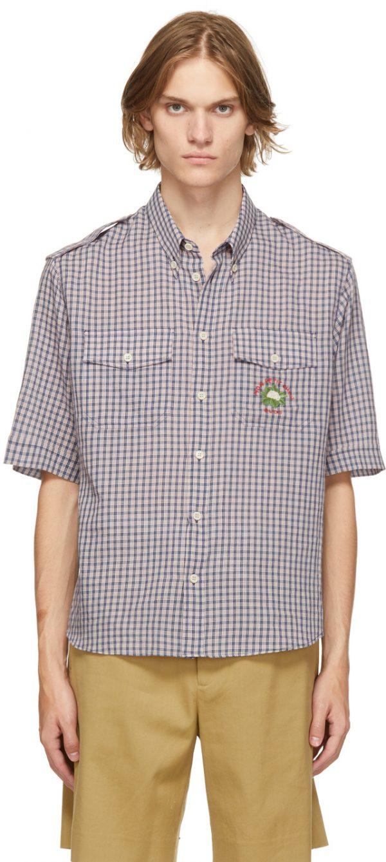 Gucci Navy Check Mon Petit Chou Short Sleeve Shirt