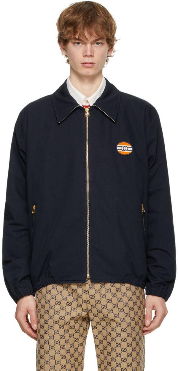 Gucci Navy Cotton & Nylon Ripstop Zip Jacket