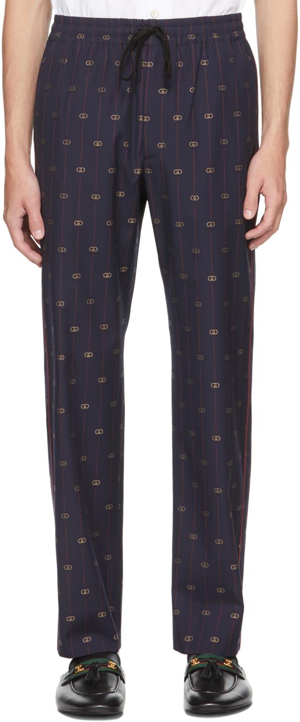 Gucci Navy Interlocking G Lounge Pants
