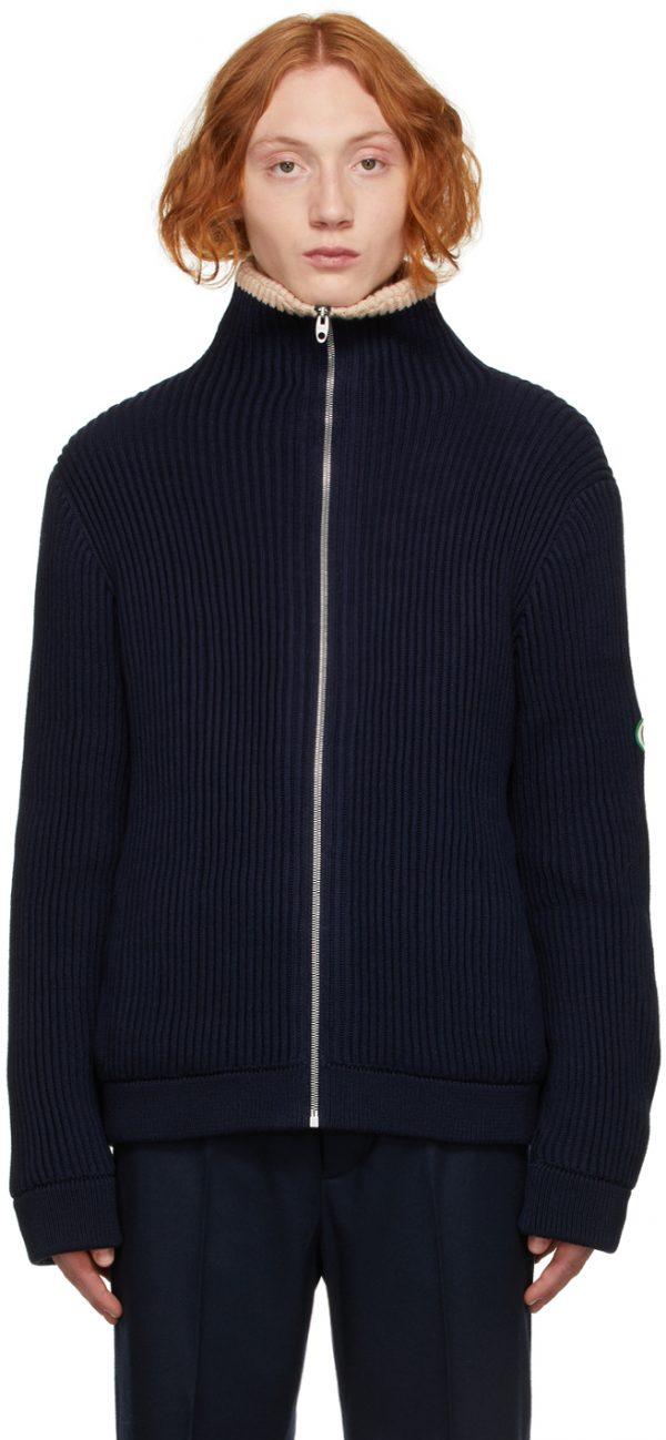 Gucci Navy Rib Knit Wool Zip-Up Jacket