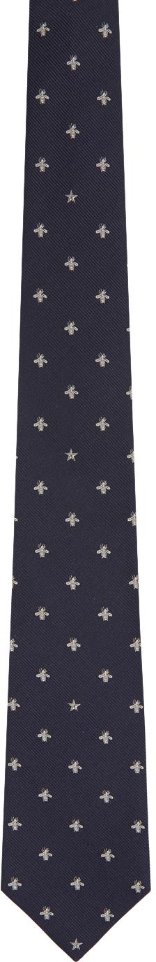 Gucci Navy Silk Bee Pattern Tie
