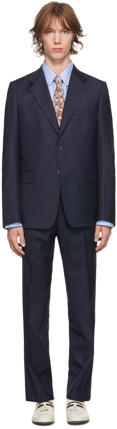 Gucci Navy Wool Straight-Fit Suit