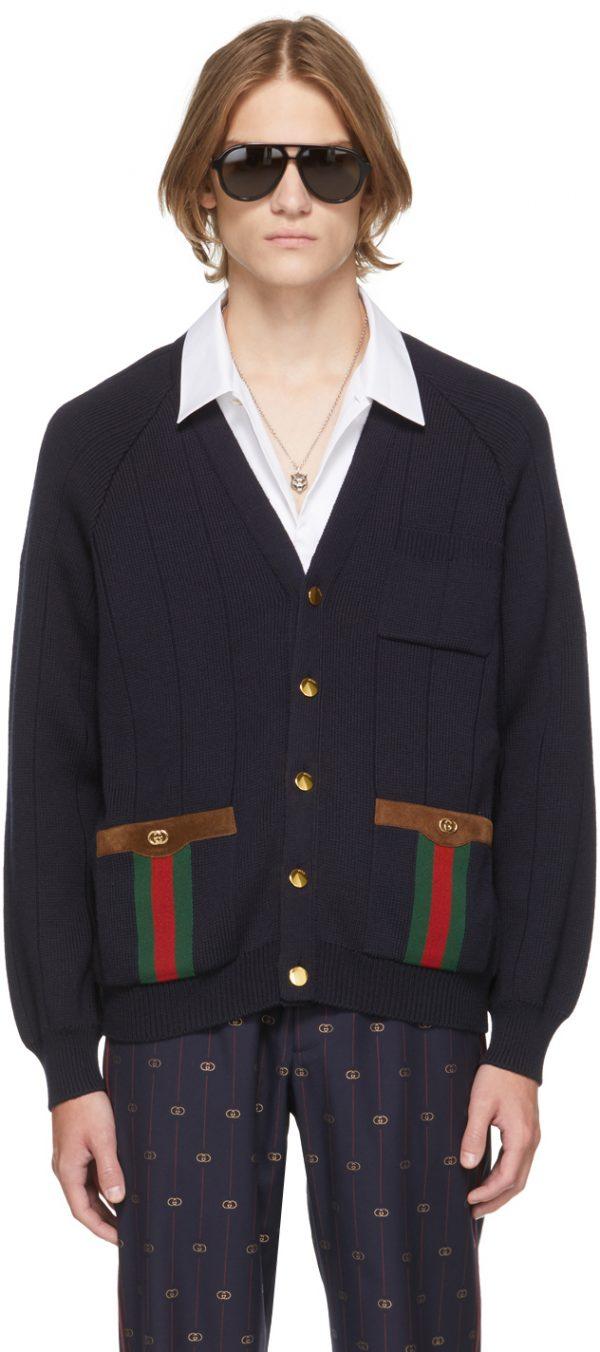 Gucci Navy Wool Web Cardigan