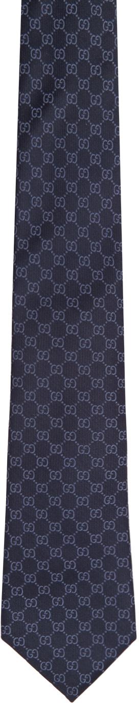 Gucci Navy & Blue Silk GG Pattern Tie