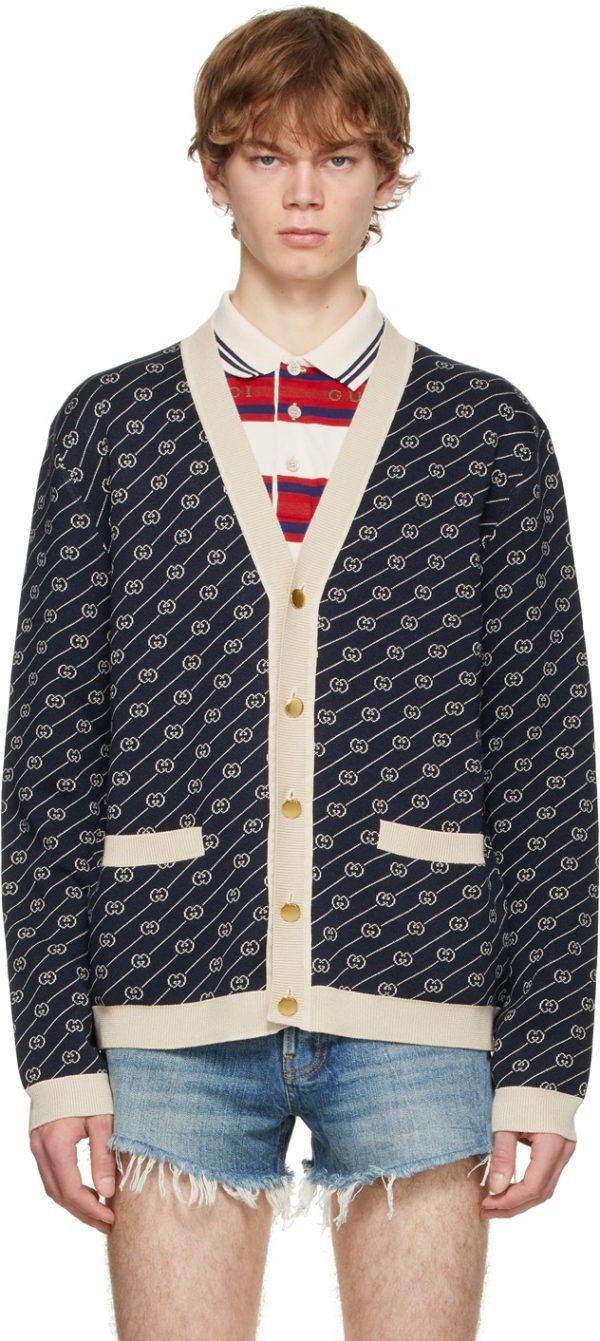 Gucci Navy & Off-White GG Jacquard Cardigan