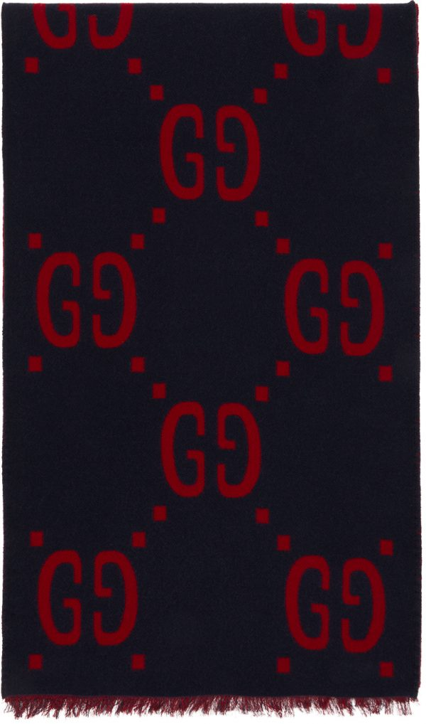 Gucci Navy & Red Jacquard GG Scarf