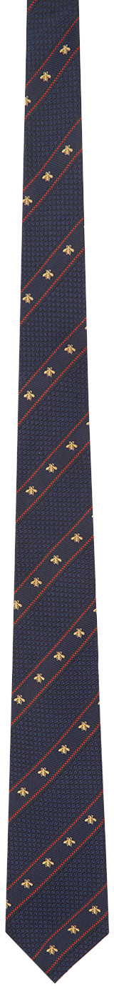 Gucci Navy & Red Silk Bee Web Tie