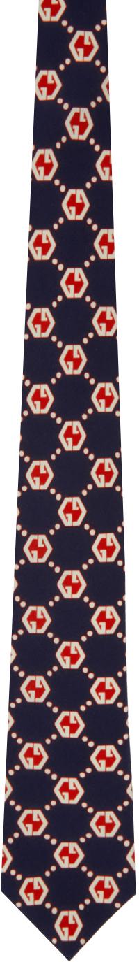 Gucci Navy & Red Silk GG Hexagon Tie