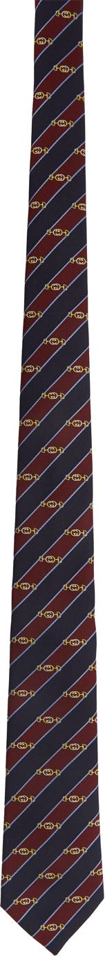 Gucci Navy & Red Silk Interlocking G Horsebit Tie