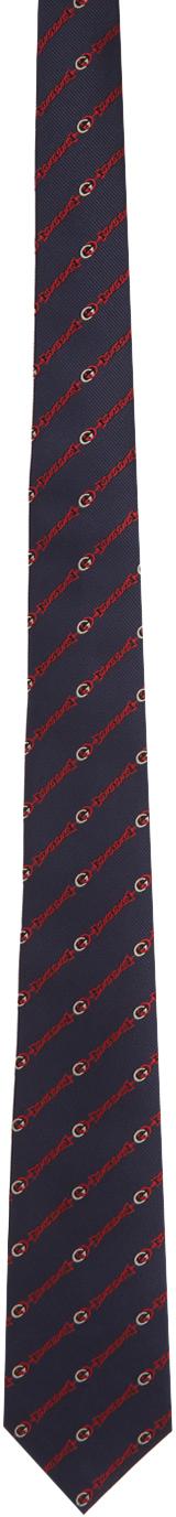 Gucci Navy & Red Silk Interlocking G Tie