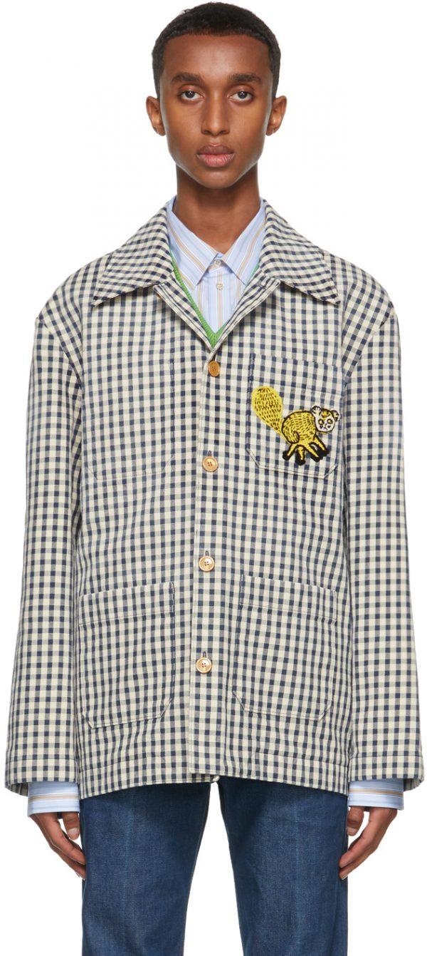 Gucci Navy & White Freya Hartas Edition Gingham Jacket