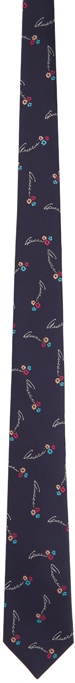 Gucci Navy & White Silk Flowers Tie