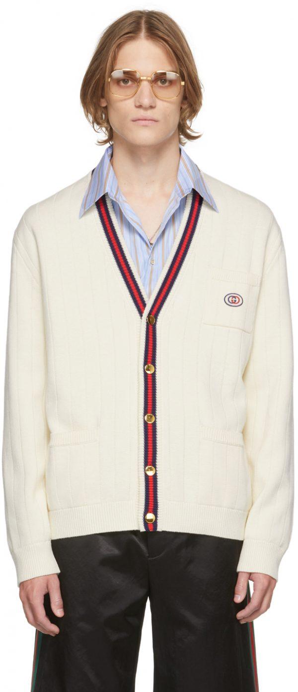 Gucci Off-White Cotton Web Cardigan