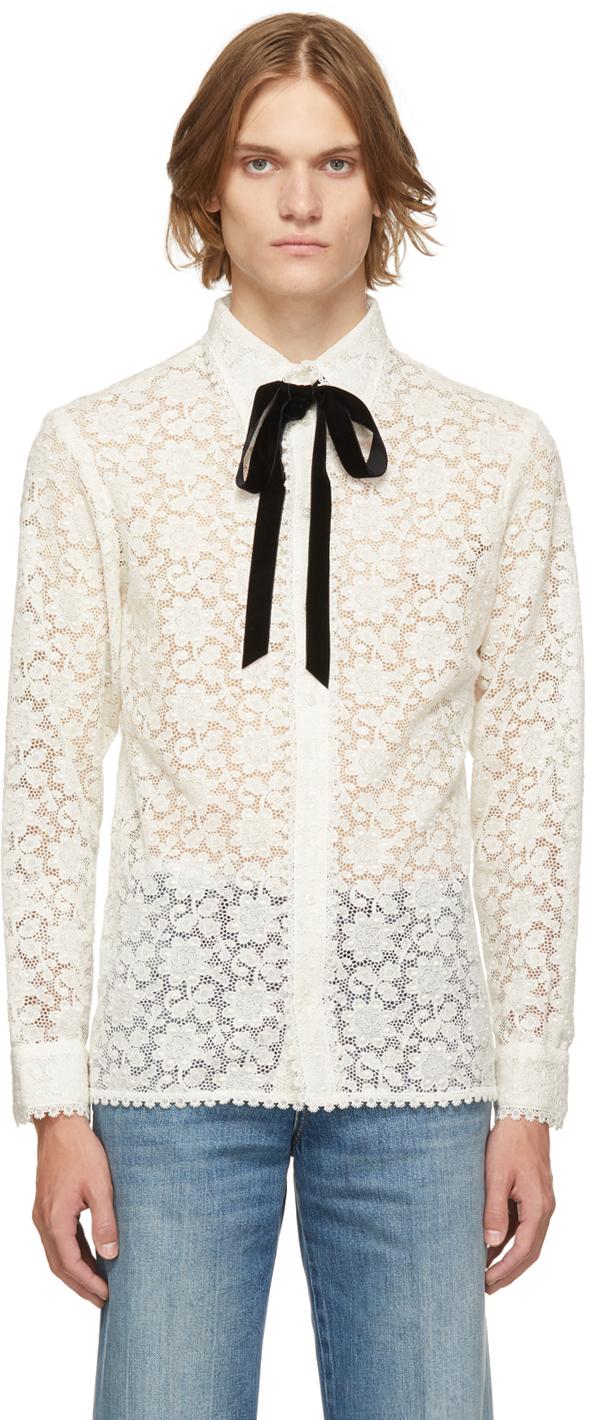 Gucci Off-White Floral Macrame Shirt