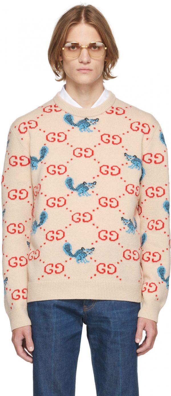 Gucci Off-White Freya Hartas Edition GG Animal Sweater