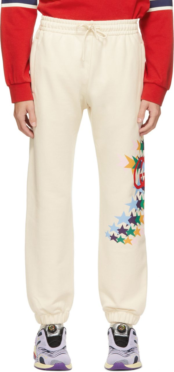 Gucci Off-White Graphic Print Lounge Pants