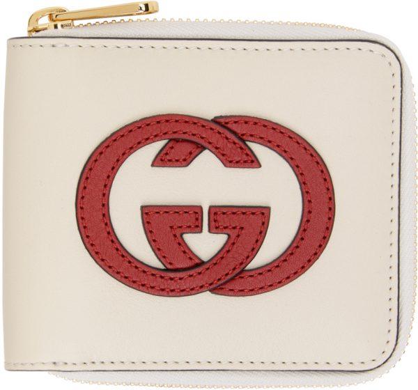Gucci Off-White Interlocking G Zip Wallet