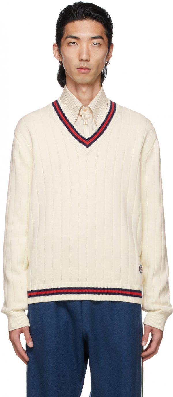 Gucci Off-White Knit Web V-Neck Sweater