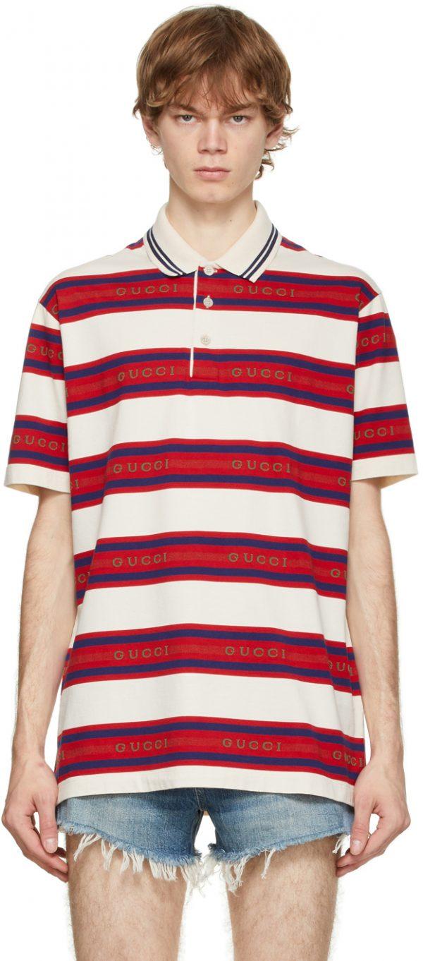 Gucci Off-White Striped Logo Polo