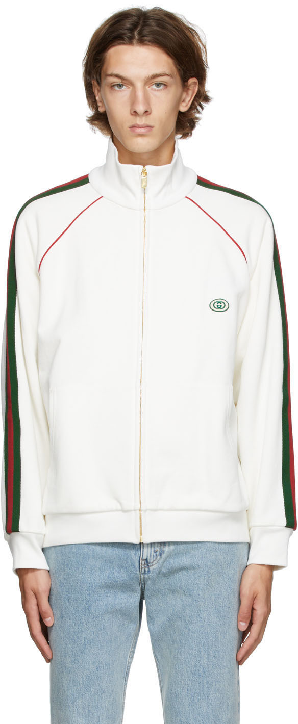 Gucci Off-White Web Zip-Up Sweatshirt