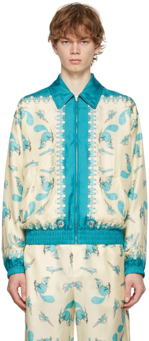 Gucci Off-White & Blue Freya Hartas Edition Silk Jacket