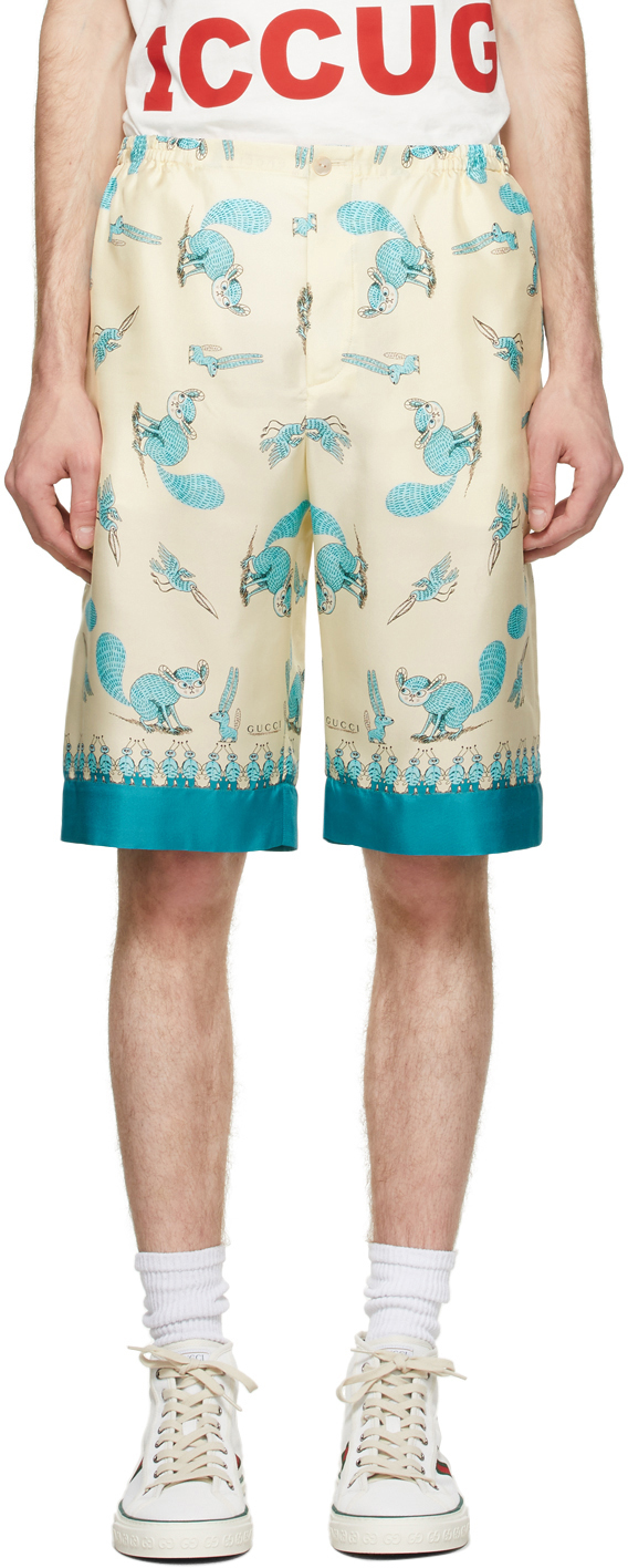 Gucci Off-White & Blue Freya Hartas Edition Silk Shorts