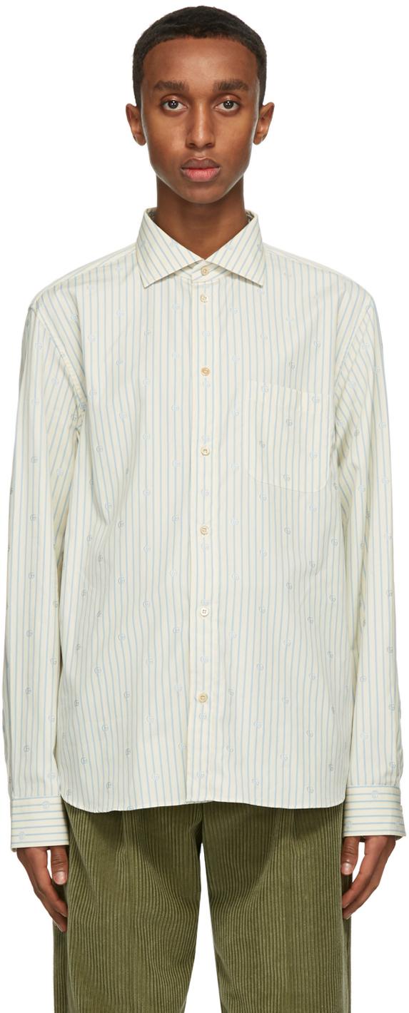 Gucci Off-White & Blue Striped GG Shirt