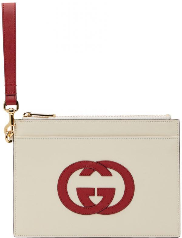 Gucci Off-White & Red Interlocking G Pouch