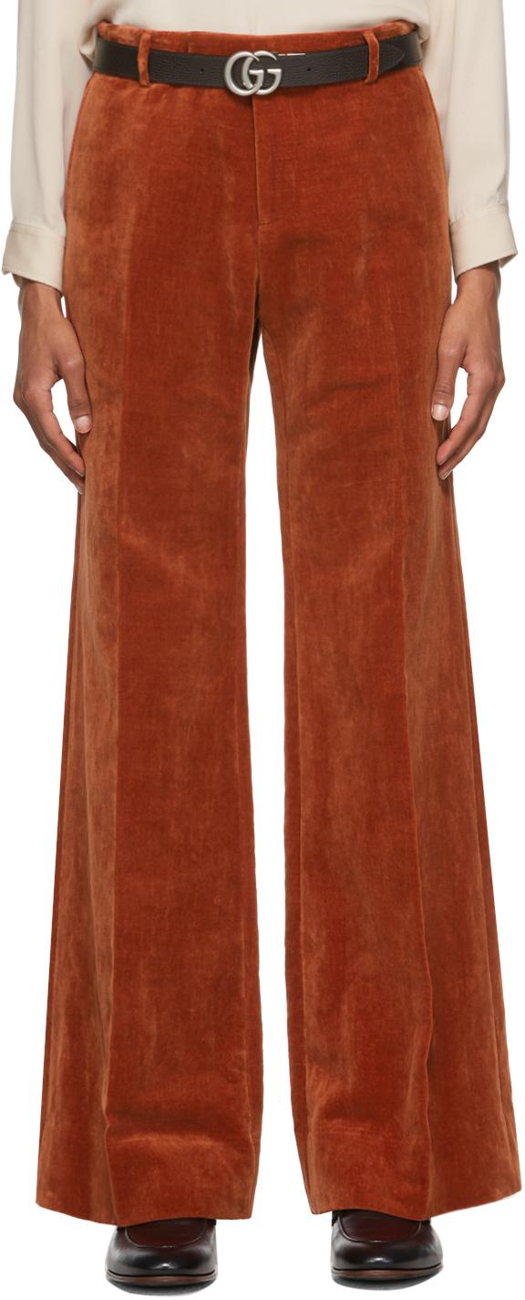 Gucci Orange Velvet Trousers