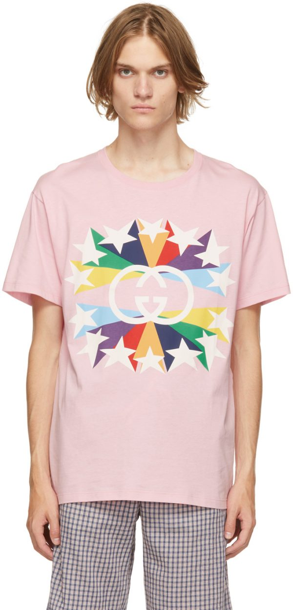 Gucci Pink Interlocking G Star Burst T-Shirt
