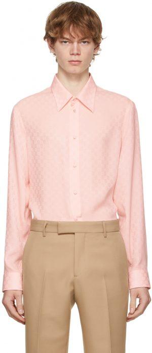 Gucci Pink Silk GG Shirt