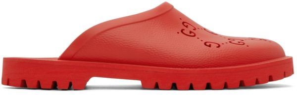Gucci Red Rubber GG Slip-On Loafers
