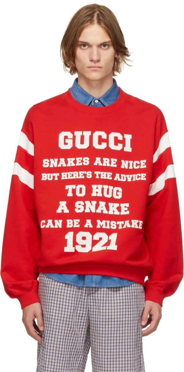 Gucci Red 'Snakes Are Nice' Sweatshirt