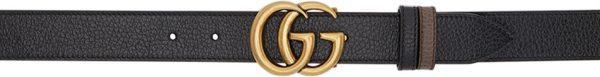 Gucci Reversible Black Thin GG Belt