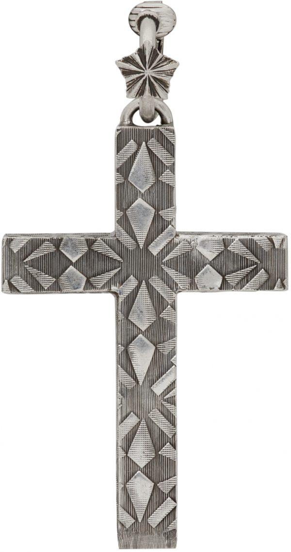 Gucci Silver Cross Single Clip-On Earring