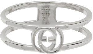 Gucci Silver Cut-Out Interlocking G Ring