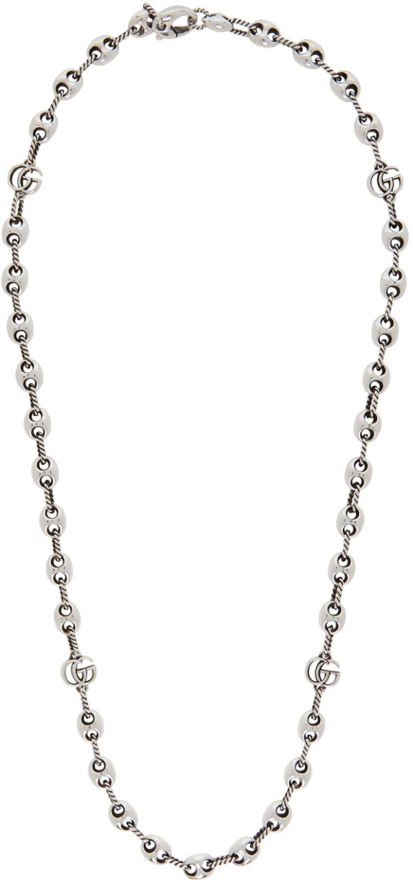 Gucci Silver Double G Marmont Long Necklace