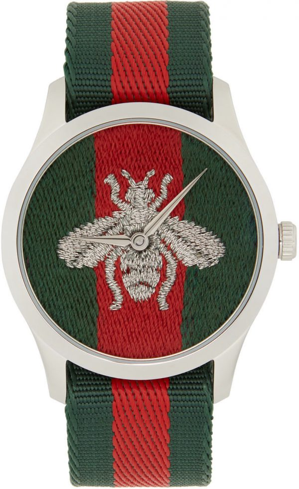 Gucci Silver G-Timeless Web Bee Watch