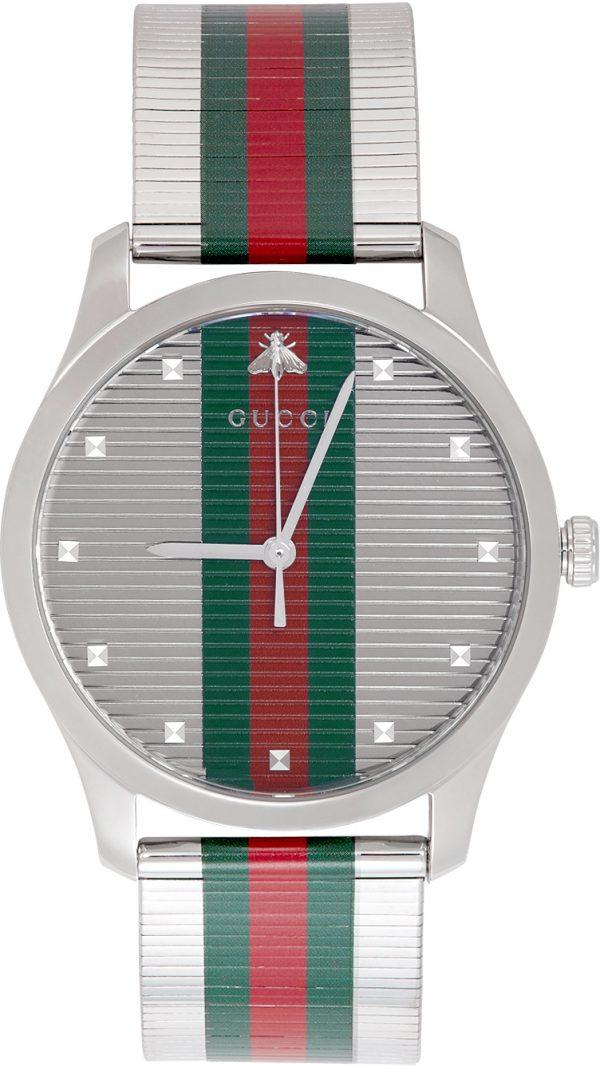 Gucci Silver G-Timeless Web Watch
