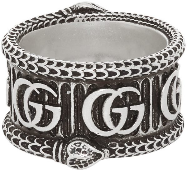 Gucci Silver GG Marmont Ring